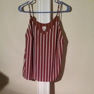 A new Day Brown and White stripes Tank Top